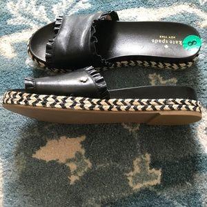 KATE SPADE Zahara Leather Espadrilles Zig Zag Sz 8